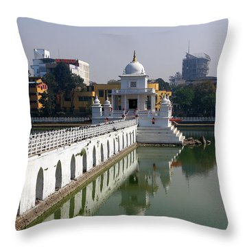 Throw Pillow featuring the photograph Shiva Temple In Lake Rani Pokharil, Kathmandu, Nepal by Aidan Moran