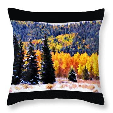 Shivering Pines In Autumn Throw Pillow by Diane Alexander