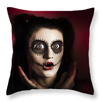 Shocked Day Of The Dead Voodoo Doll On Red Throw Pillow