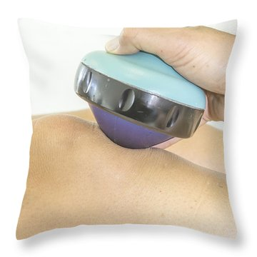 Shockwave Treatment On Knee Throw Pillow