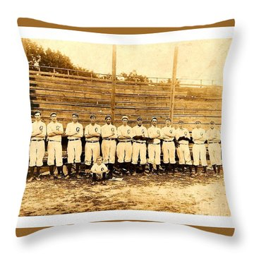 Throw Pillow featuring the photograph Shoeless Joe Jackson Age 19 With His Greenville South Carolina Baseball Team 1908 by Peter Gumaer Ogden