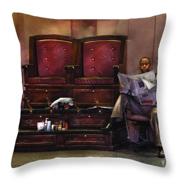 Shoes - Lee's Shoe Shine Stand Throw Pillow by Mike Savad