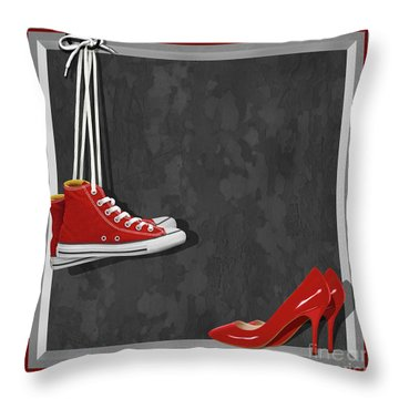 Shoes For Every Occasion Throw Pillow by Monika Juengling