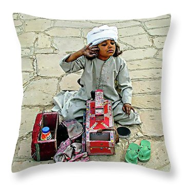 Throw Pillow featuring the digital art Shoeshine Girl - Nile River, Egypt by Joseph Hendrix