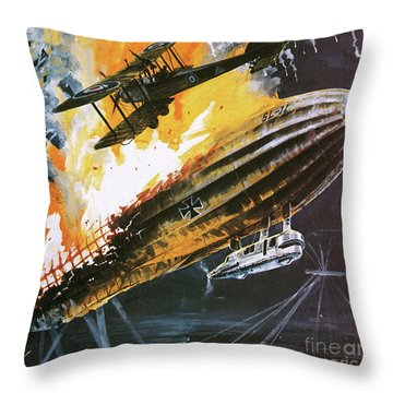 Shooting Down A Zeppelin During The First World War Throw Pillow