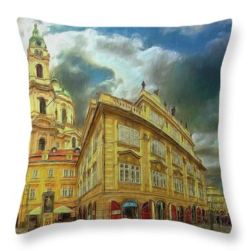 Shooting Round The Corner - Prague Throw Pillow