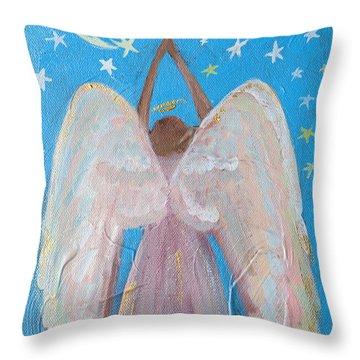 Shooting Star Angel Throw Pillow