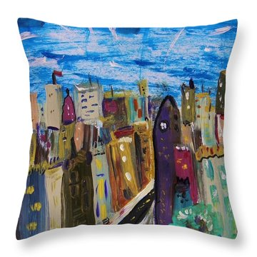 Throw Pillow featuring the painting Shooting Stars Over Old City by Mary Carol Williams