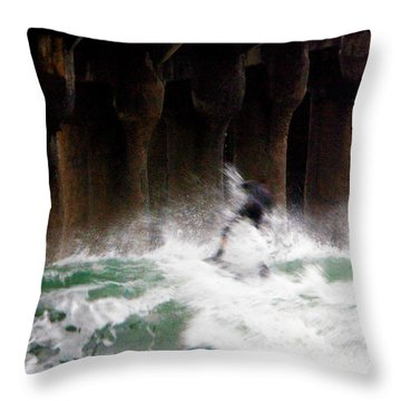 Shooting The Pier Throw Pillow by Gilbert Artiaga