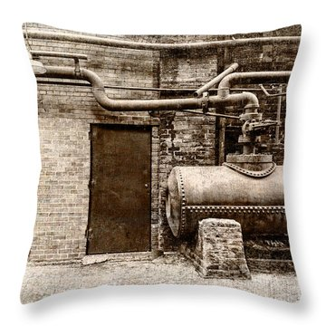 Building At Sloss Throw Pillow by Phillip Burrow