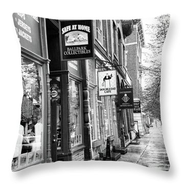 Shop In Cooperstown Ny Baseball Bw Throw Pillow