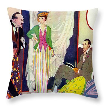 Throw Pillow featuring the photograph Shopping 1914 by Padre Art