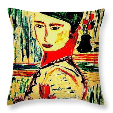 Throw Pillow featuring the painting Shopping At Galeries Lafayette by Bill OConnor
