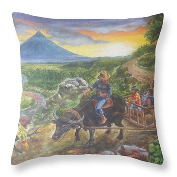 Shopping Family In Mall Throw Pillow by Manuel Cadag