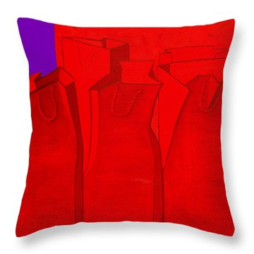 Shopping In Red Throw Pillow