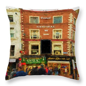 shopping on Grafton Street in Dublin Throw Pillow