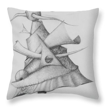 Throw Pillow featuring the drawing Plasma Tree by Charles Bates