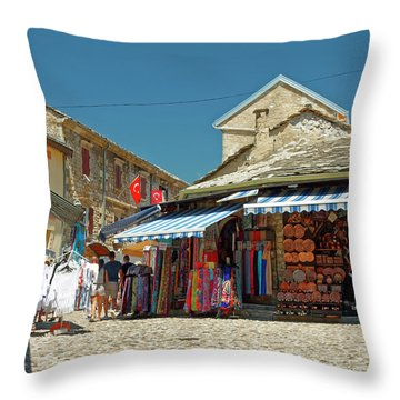 Shops And Cobblestones Throw Pillow