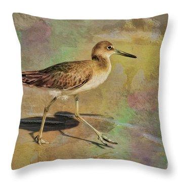 Throw Pillow featuring the painting Shore Bird Beauty by Deborah Benoit