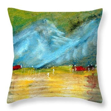 Shore Of Mountain Lake Throw Pillow by R Kyllo