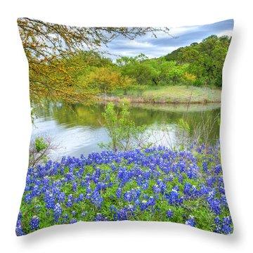 Shoreline Bluebonnets At Lake Travis Throw Pillow