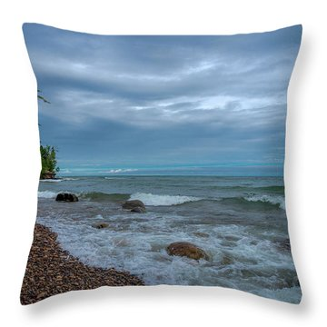 Shoreline Clouds Throw Pillow