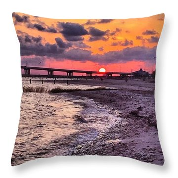 Shoreline Sunset #sunset #beach #water Throw Pillow