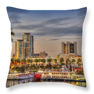 Shoreline Village Rainbow Harbor Marina Throw Pillow by David Zanzinger