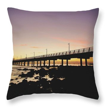 Shorncliffe Pier At Dawn Throw Pillow