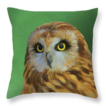 Short Eared Owl On Green Throw Pillow by Dan Sproul