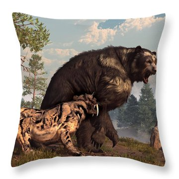 Short-faced Bear And Saber-toothed Cat Throw Pillow by Daniel Eskridge
