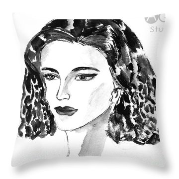 Short Hair Fashion Lady Throw Pillow