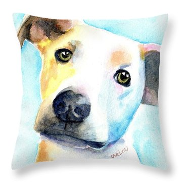 Short Hair White And Brown Dog Throw Pillow
