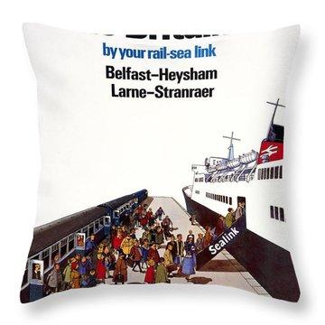 Short Walk To Britain, Vintage Travel Poster Throw Pillow