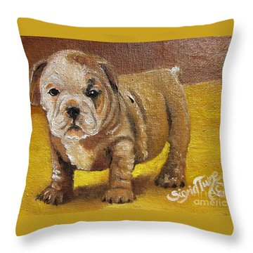 Chloe The   Flying Lamb Productions      Shortstop The English Bulldog Pup Throw Pillow
