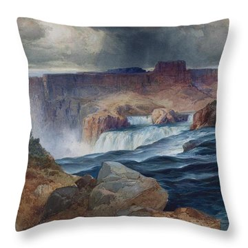 Shoshone Falls Idaho Throw Pillow by Thomas Moran
