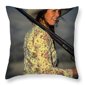 Shotgun Annie Western Art By Kaylyn Franks Throw Pillow