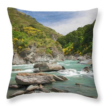 Shotover River Rapids New Zealand II Throw Pillow