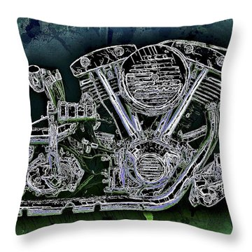 Harley - Davidson Shovelhead Engine Throw Pillow