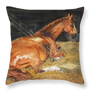 Show Day Nap Throw Pillow by Kristine Plum