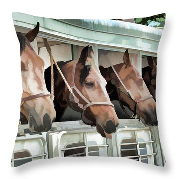 Show Horses On The Move  Throw Pillow by Wilma Birdwell