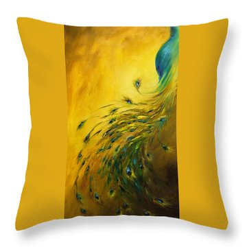 Show Off 1 Vertical Peacock Throw Pillow by Dina Dargo