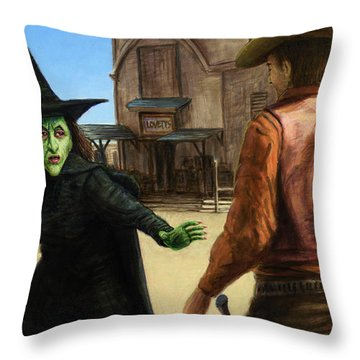 Throw Pillow featuring the painting Showdown by James W Johnson
