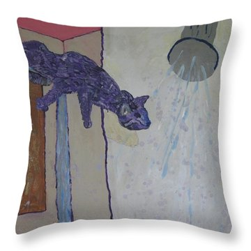Shower Cat Throw Pillow
