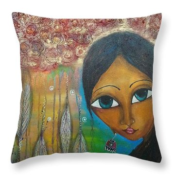 Throw Pillow featuring the mixed media Shower Of Roses by Prerna Poojara