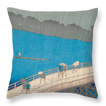 Shower Over Ohashi Bridge Throw Pillow