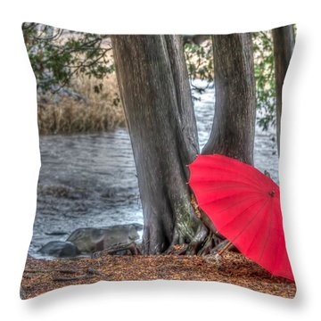 Showers At The River Throw Pillow
