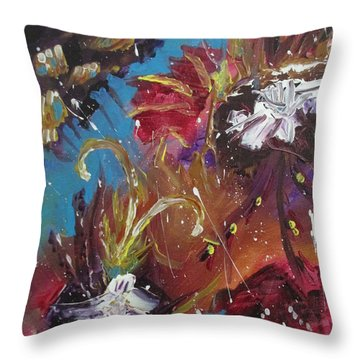 Showers Of Flowers Throw Pillow by Sharyn Winters