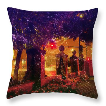 Showery Night On The Corner Throw Pillow