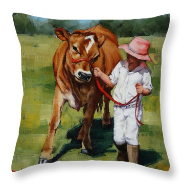 Throw Pillow featuring the painting Showgirls by Margaret Stockdale